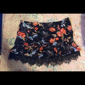 Floral lace bottom mini skirt